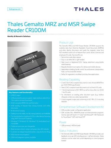 Thales Gemalto MRZ and MSR Swipe Reader CR100M