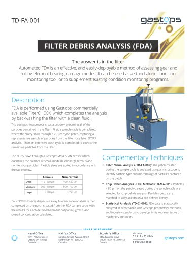 FILTER DEBRIS ANALYSIS (FDA)