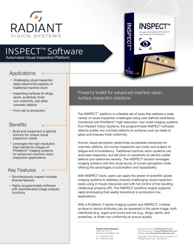 INSPECT™ R1 Software Toolkit for Advanced Machine Vision Inspection