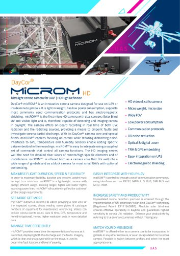 DayCor® MICROM Ultralight corona camera for UAV | HD High Definition