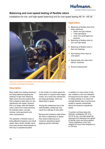 Balancing and over-speed testing of flexible rotors HS 16 - HS 34