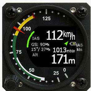 anemômetro para avião / eletrônico / com escala dupla / 2,25 polegadas