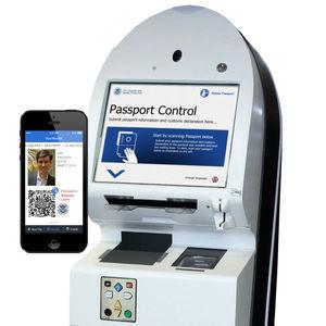 fronteira eletrónica para aeroporto / com leitor de códigos de barras / com leitor de impressões digitais / com leitor de passaportes